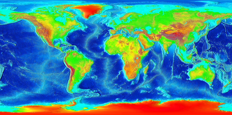 Foto van die topografie van die aarde